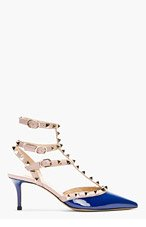 VALENTINO Navy patent rockstud strapped heels for women