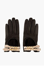 VALENTINO Black leather rockstud Driving Gloves for women