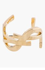 SAINT LAURENT Gold Cassandre Monogram Cuff for women