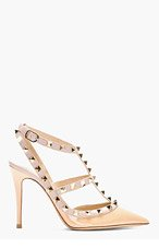 VALENTINO Beige & Taupe Leather Studded Rockstud Slingbacks for women