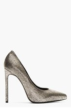SAINT LAURENT Black & Silver Metallic Sahara Paris Pumps for women