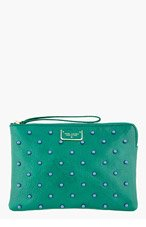 MARC JACOBS Green leather blue-STUDDED The Deluxe clutch for women