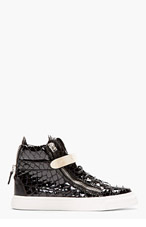 GIUSEPPE ZANOTTI SSENSE EXCLUSIVE Black Patent croc-embossed Atlantide sneakers for women