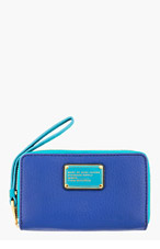 MARC BY MARC JACOBS Royal blue & turquoise Classic Q Wingman Wristlet Wallet for women