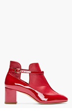 VALENTINO Red leather patent & matte paneled Boots for women