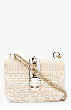 VALENTINO Ivory Pearl & Pyramid studded shoulder bag for women