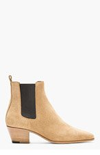 SAINT LAURENT Beige suede Chelsea Boots for women