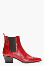 SAINT LAURENT Red snakeskin Chelsea Boots for women