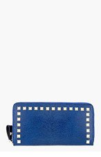 VALENTINO Blue reptile skin Stud-trimmed Wallet for women