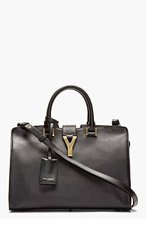 SAINT LAURENT Black Leather Ligne Y Cabas Tote for women