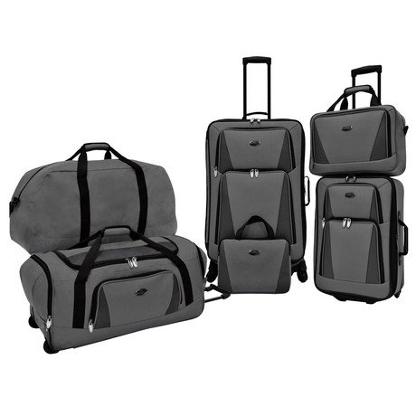 U.S. Traveler Bradford 5-Piece Luggage Set // Grey