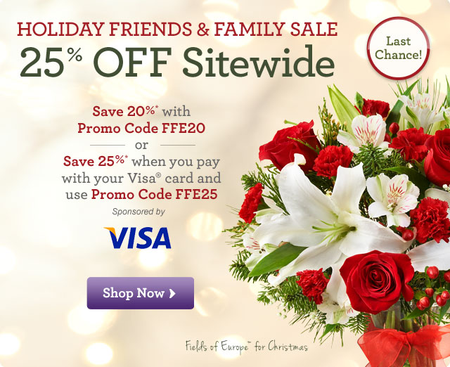 Holiday Friends & Family Sale - 25%* OFF Sitewide   Save 20%* with Promo Code FFE20. or Save 25%* when you pay with your Visa(R) card and use Promo Code FFE20. Shop Now