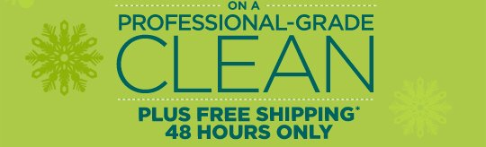 ON A PROFESSIONAL-GRADE CLEAN PLUS FREE SHIPPING* 48 HOURS ONLY
