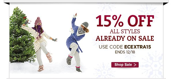 15% OFF all styles already on sale.  Use code ECEXTRA15