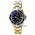 Invicta 8930C Men's Pro Diver Blue Dial Gold Plated Steel Bracelet Automatic Dive Watch with Coin Edge Bezel