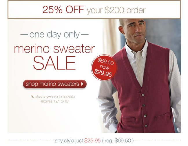 ONE DAY ONLY: Merino Sweater Sale. Now $29.95 Originally $69.50 + 25% Off Your $200 Order