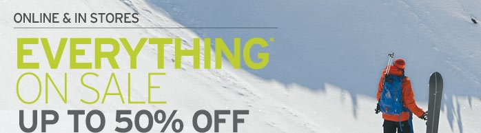 Everything on sale – up to 50% off