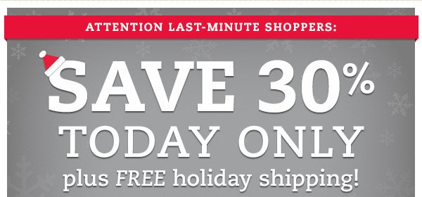 Attention last-minute shoppers: SAVE 30% today only plus FREE holiday shipping! Dash in now to save 30% when you spend $100 or more - plus ship it for free to get it under their tree!*