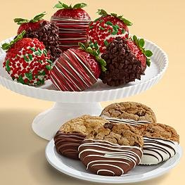 4 Dipped Cookies & Half Dozen Christmas Strawberries