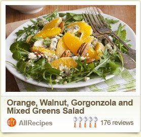 Orange, Walnut, Gorgonzola and Mixed Greens Salad