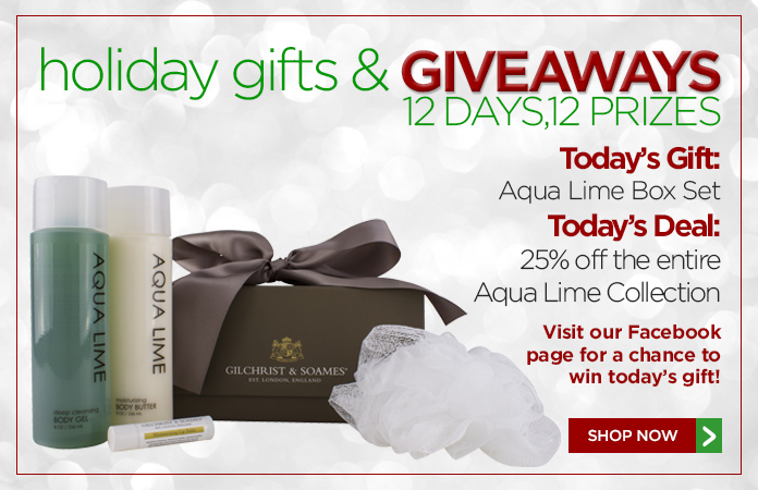 12 Days of Gifts & Giveaways: 25% off Aqua Lime + free shipping over $60.