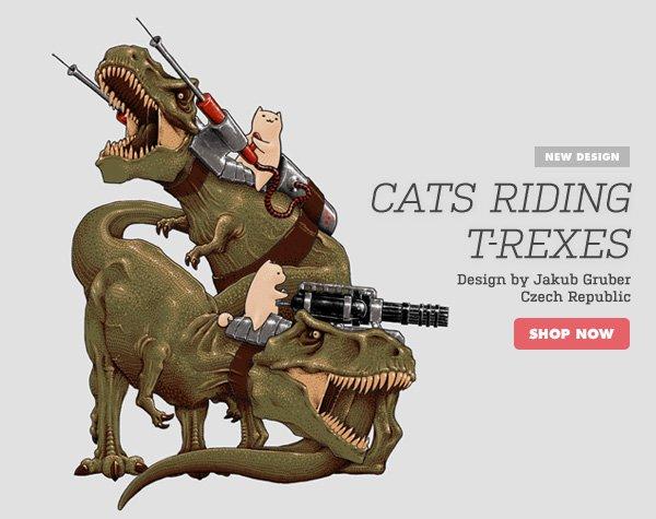 Cats Riding T-Rexes