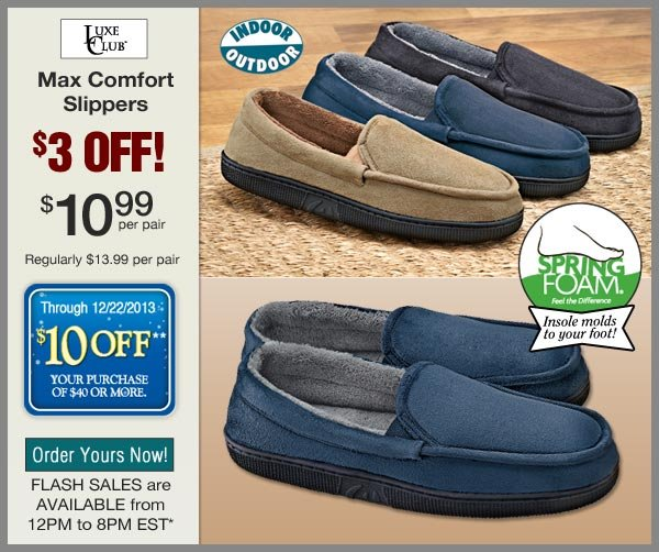 $3 OFF Max Comfort Slippers