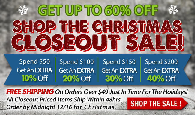 Get Up To 60% OFF On Closeout Items!