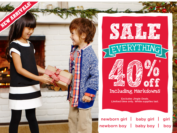 SALE. Everything 40% Off(3) including markdowns. Excludes Jingle Deals. Limited time only. While supplies last.
