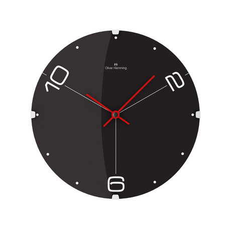 Domed Glass Wall Clock // Three-Point Black