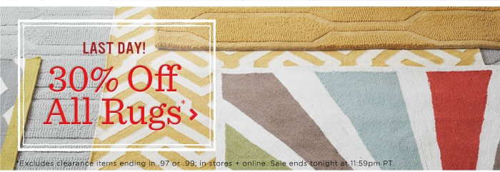 Last day! 30% off all rugs*