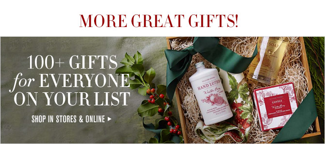 MORE GREAT GIFTS! - 100+ GIFTS for EVERYONE ON YOUR LIST - SHOP IN STORES & ONLINE