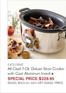 EXCLUSIVE - All-Clad 7-Qt. Deluxe Slow Cooker with Cast Aluminum Insert - SPECIAL PRICE $229.95 SUGG. $400.00, 42% OFF SUGG. PRICE