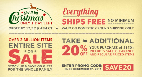 Get it By Christmas + Take an Additional 20% off