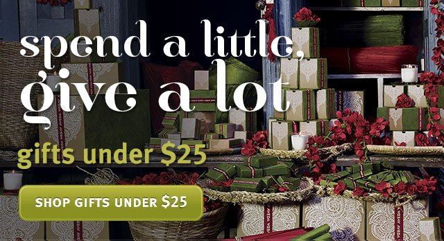 spend a little. give a lot. shop gifts under $25.