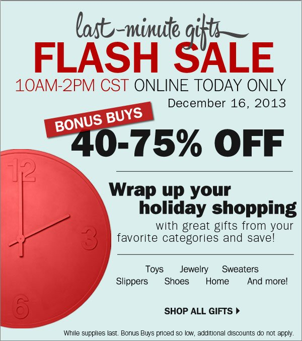 Last Minute gifts flash sale
