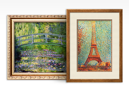 THE WATERLILY POND WITH THE JAPANESE BRIDGE, 1899 By: Claude Monet; THE EIFFEL TOWER By: Georges Seurat