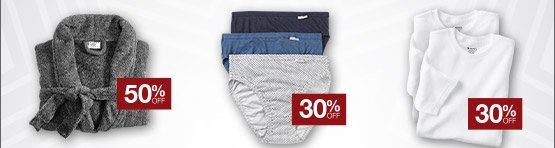 50% off sleepwear, 30% off Elance and Classics, 30% off tops, and more!