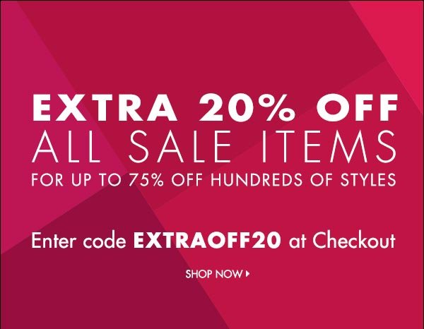 Extra 20% off all sale items!   >>