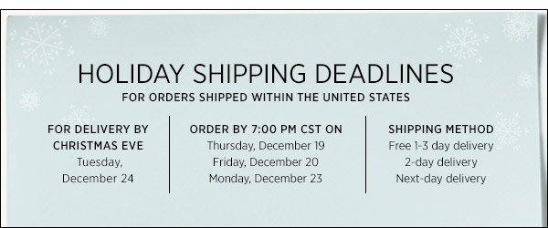 Domestic Holiday Shipping  >>