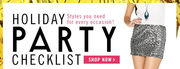 Holiday Party Checklist! Shop Now