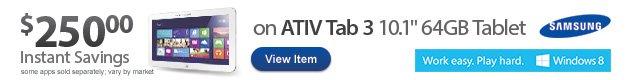$250 Instant Savings on Samsung ATIV Tab 3