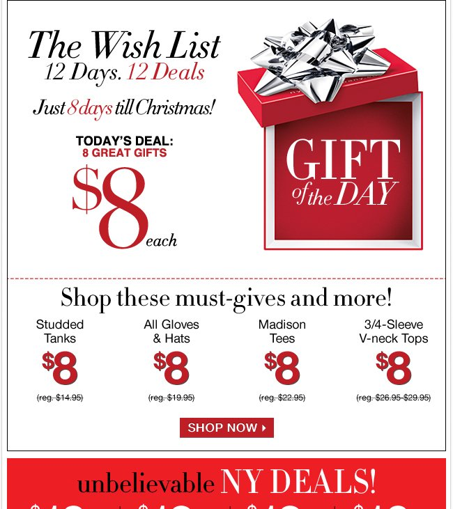 Shop our $8 Gifts with 8 days left till Christmas!