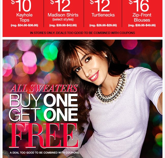 Our Sweater Sale contunes, Buy One Get One Free!