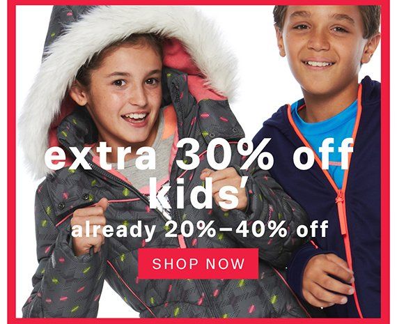 Extra 30% off kids'. Shop Now.