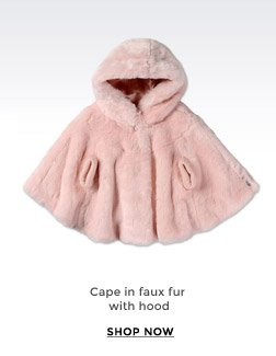 CAPE IN FAUX FUR WITH HOOD