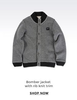 BOMBER JACKET WITH RIB KNIT TRIM
