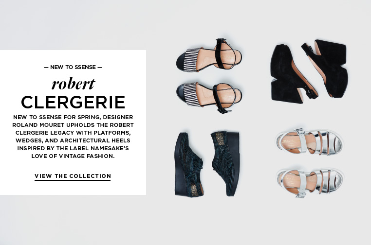 Introducing Robert Clergerie New to SSENSE for Spring, designer Roland Mouret upholds the Robert Clergerie legacy with platforms, wedges, and architectural heels inspired by the label namesake's love of vintage fashion.