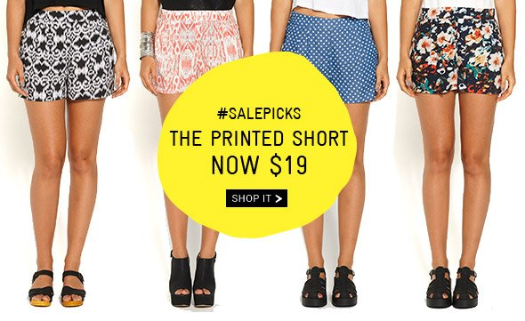 #SALEPICKS The Printed Short NOW $19  Shop it.