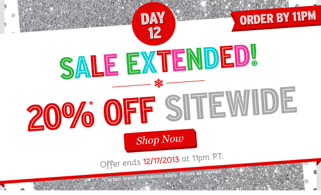 Sale Extended! 20% OFF Sitewide! Shop Now.